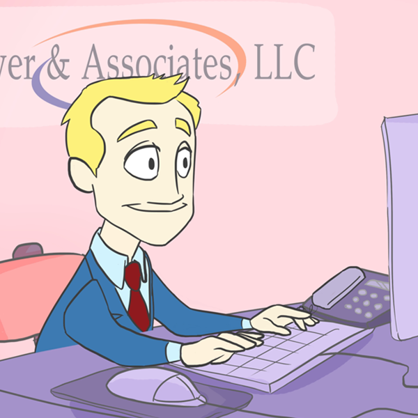 man working on his computer from animated explainer video