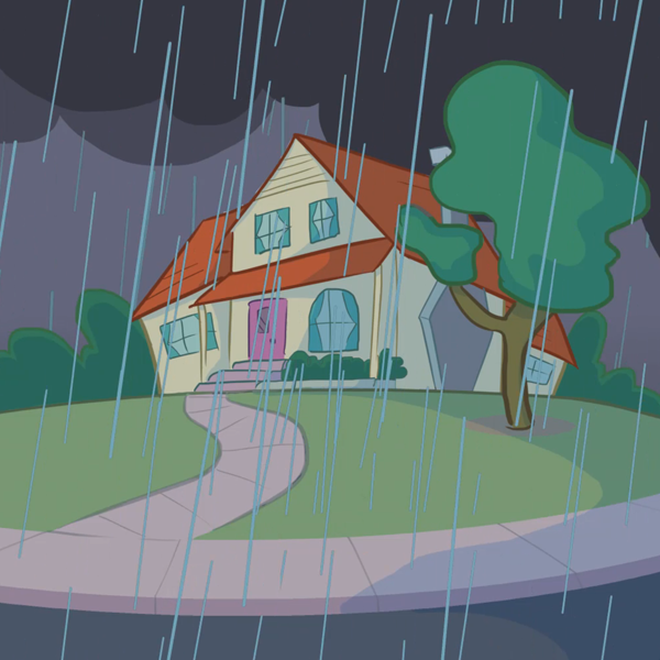 animation ad rainy day outside home
